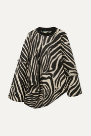 Oversized asymmetric zebra-intarsia mohair-blend sweater