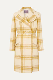 ALEXACHUNG Belted checked wool-blend coat