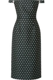 Embellished off-the-shoulder floral-jacquard dress
