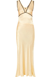 Lace-trimmed satin-crepe maxi dress