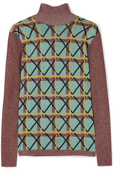 ALEXACHUNG - Metallic Jacquard-knit Sweater - Jade