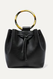 Drawstring leather tote