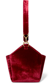 Arezu crushed-velvet shoulder bag
