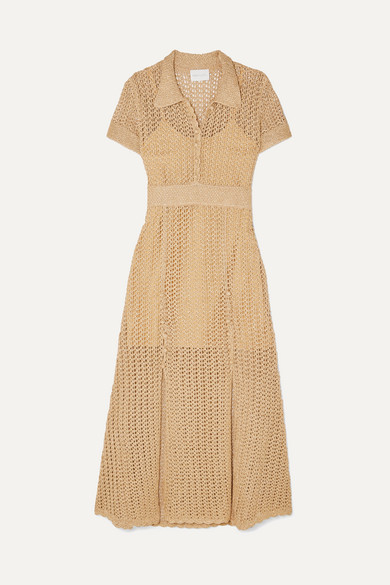 Alice Mccall BIJOU BIJOU METALLIC CROCHET-KNIT MIDI DRESS