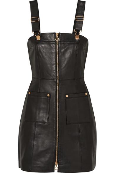 Cherry On Baby Leather Mini Dress, Black