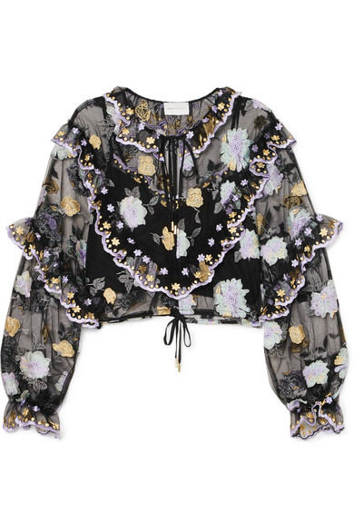 Alice Mccall RUFFLED EMBROIDERED TULLE BLOUSE