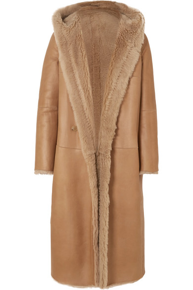 Olbia Reversible Hooded Shearling Coat by Max Mara