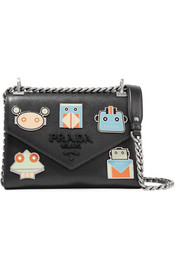 Prada Monochrome embellished textured-leather shoulder bag