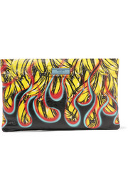 Prada Printed textured-leather pouch