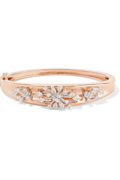 YEPREM 18-Karat Rose And White Gold Diamond Bracelet in Rose Gold