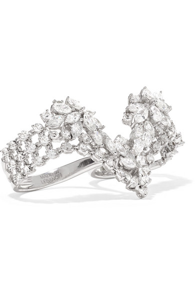 YEPREM 18-Karat White Gold Diamond Two-Finger Ring