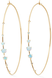 Big Counting 14-karat gold, opal and diamond hoop earrings
