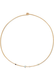 Linear 14-karat gold diamond, opal and sapphire choker