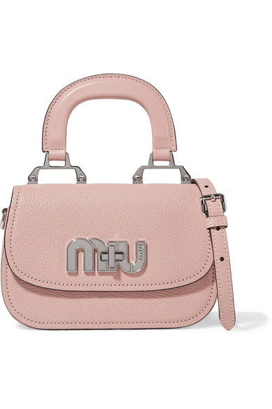 Mini Textured Leather Shoulder Bag by Miu Miu