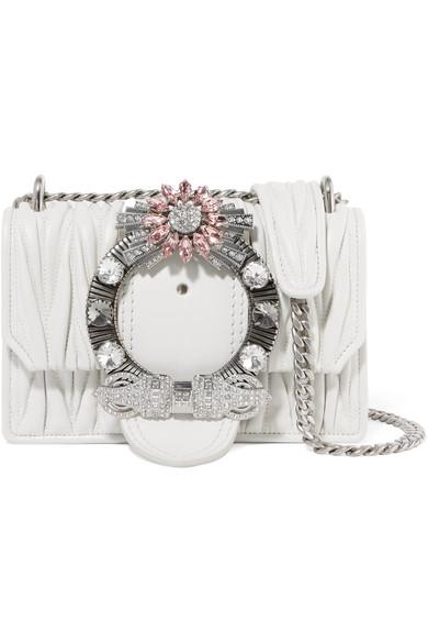 46b06a18ab3b Miu Miu Miu Lady Crystal-Embellished MatelassÉ Leather Shoulder Bag