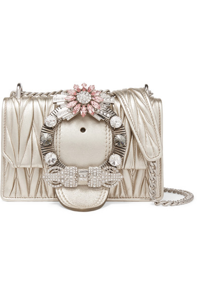 fb485995786 Miu Miu Miu Lady Crystal-Embellished Metallic MatelassÉ Leather Shoulder Bag  In Gold