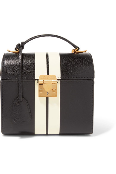 Sara Striped Textured-Leather Tote in Black
