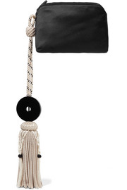 The Row Wristlet tasseled satin clutch