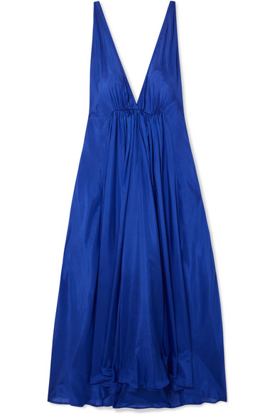 KALITA Clemence gathered silk-habotai maxi dress