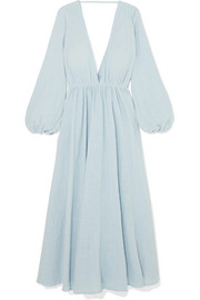 Aphrodite gathered cotton-gauze maxi dress
