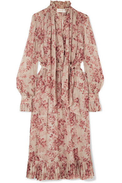 ZIMMERMANN UNBRIDLED PUSSY-BOW FLORAL-PRINT SILK-GEORGETTE MIDI DRESS