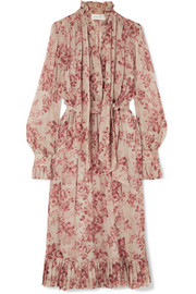 Unbridled pussy-bow floral-print silk-georgette midi dress