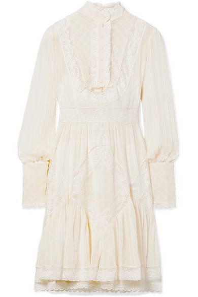 ZIMMERMANN UNBRIDLED LACE-TRIMMED PINTUCKED CHIFFON MINI DRESS