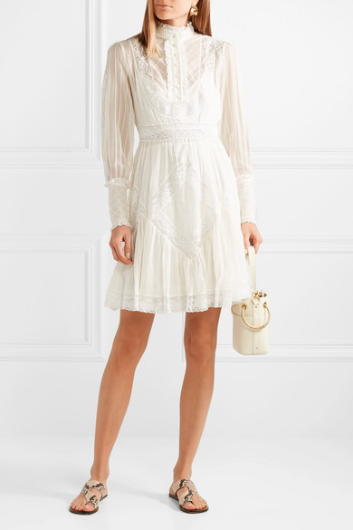 Unbridled Lace Trimmed Pintucked Chiffon Mini Dress by Zimmermann