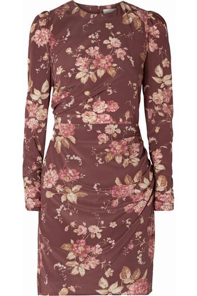 Zimmermann - Draped Floral-print Silk-blend Crepe De Chine Mini Dress - Brick