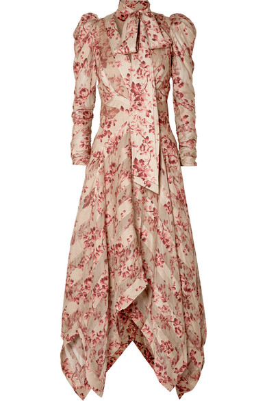 ZIMMERMANN UNBRIDLED CHIFFON-PANELED FLORAL-PRINT SILK-BLEND DRESS