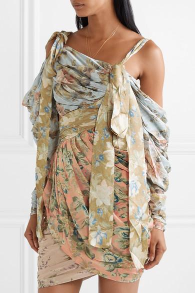 df4e27399c385 Zimmermann | Elixir cutout draped floral-print silk-satin mini dress ...