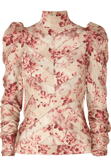 649b17f52b55d7 Zimmermann - Unbridled Chiffon-paneled Floral-print Silk-blend Blouse -  Antique rose