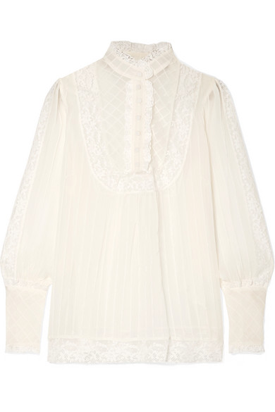 ZIMMERMANN UNBRIDLED LACE-TRIMMED SILK-GEORGETTE BLOUSE