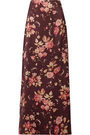 Zimmermann Floral-print wool-blend twill maxi skirt