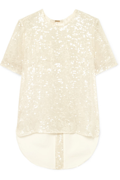 Adam Lippes OPEN-BACK SEQUINED GEORGETTE T-SHIRT