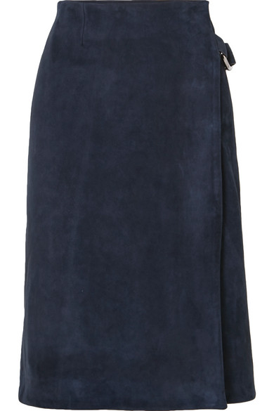 Adam Lippes - Suede Wrap Skirt - Navy