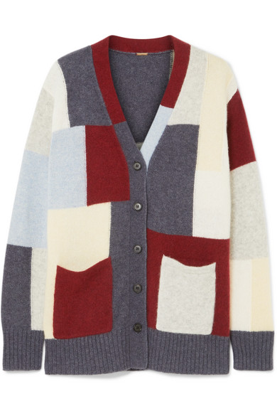 Adam Lippes PATCHWORK BRUSHED CASHMERE AND SILK-BLEND CARDIGAN