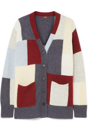 Patchwork brushed cashmere and silk-blend cardigan