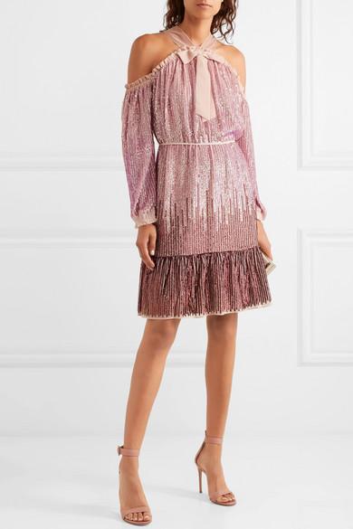 6022ed16 Needle & Thread | Kaleidoscope cold-shoulder sequined chiffon dress ...