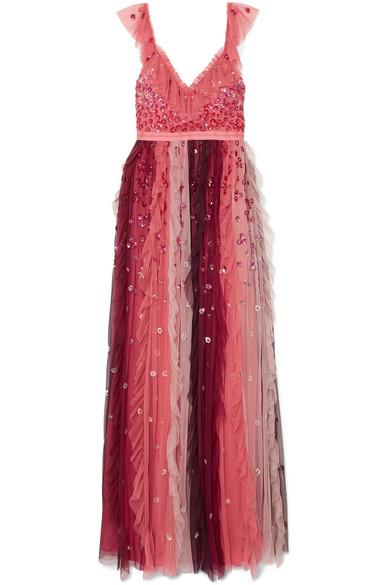 Needle & Thread - Rainbow Embellished Tulle Midi Dress - Burgundy