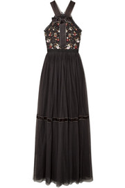 Needle & Thread Esther bow-detailed embellished point d'esprit tulle gown