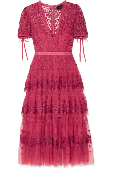 Layered Tulle Embroidered Midi Dress, Pink