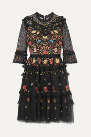 Needle & Thread Pandora ruffled embroidered tulle dress