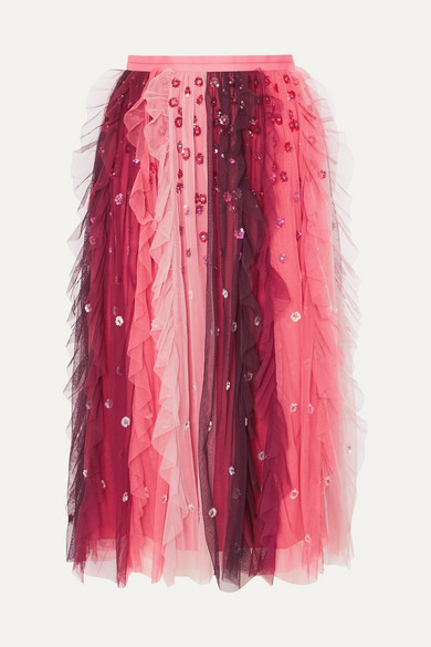 Needle & Thread - Rainbow Embellished Tulle Midi Skirt - Burgundy