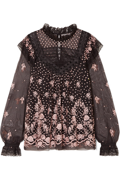 Needle & Thread - Eclipse Lace-trimmed Embroidered Tulle Blouse - Charcoal