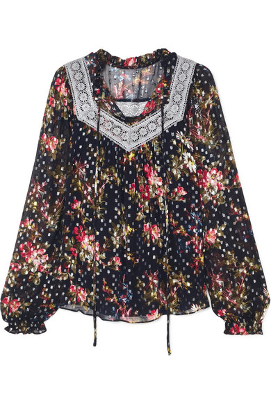 Needle & Thread - Winter Forest Floral-print Fil Coupé Chiffon Top - Navy