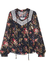 Needle & Thread Winter Forest floral-print fil coupé chiffon top