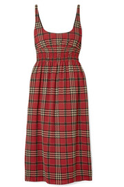 Giovanna smocked tartan crepe midi dress