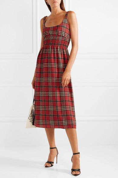 Red Giovanna Smocked Tartan Crepe Midi Dress – Claret