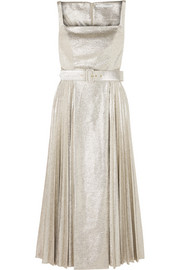 Ingrid pleated metallic coated-jersey dress